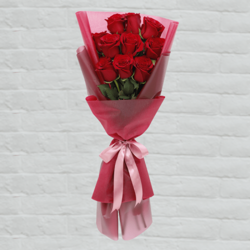 10 Stem Red Rose Bouquet