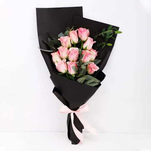 12 Pink Roses in Black Wrapping