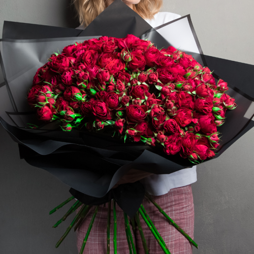 Red Spray Roses in Bouquet