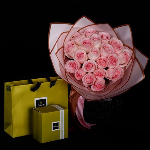 20 Pink Roses with Patchi 250 grams