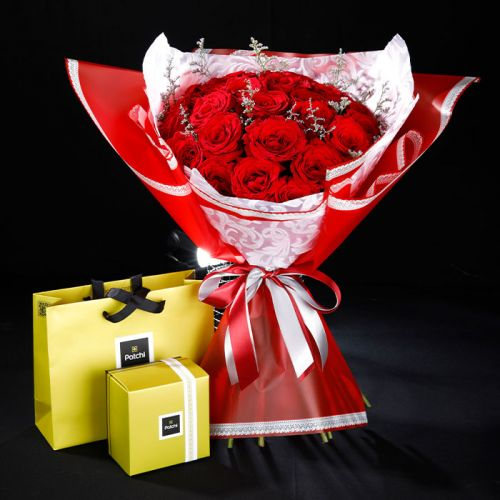20 Red Roses with Patchi 250 grams