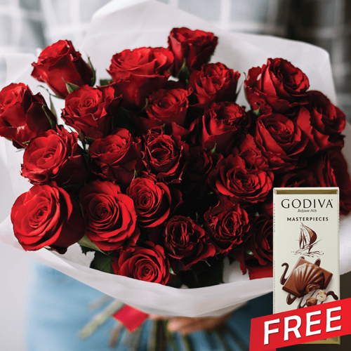 25 luxury red roses free godiva