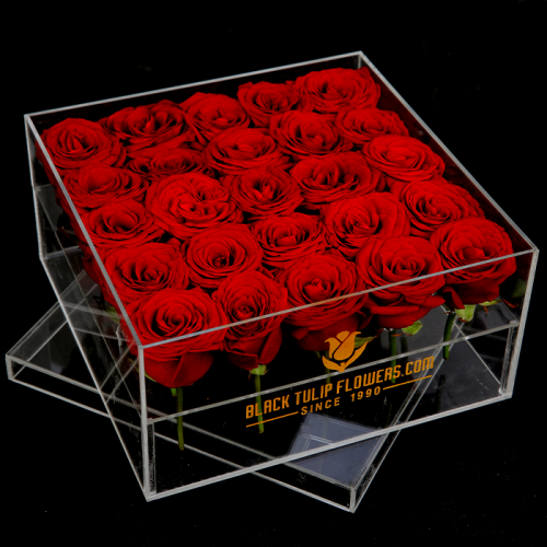25 Red Roses In An Acrylic Box from blacktulipflowers.com