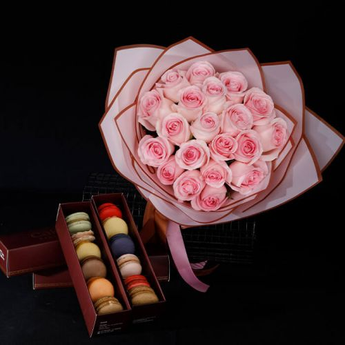 Pink Rose with Macaroons for all occasions like Love and Romance, Breast Cancer Awareness, Birthdays, Congratulations.