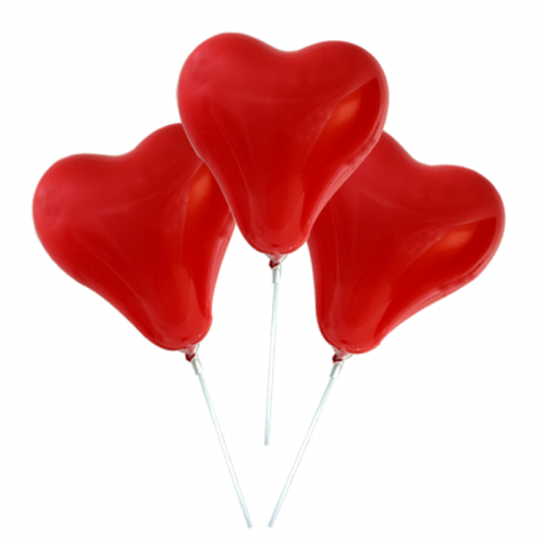 3 pcs heart-shaped air balloons with cups and stick