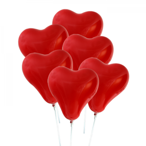 6 pcs heart-shaped air balloons with cups and stick