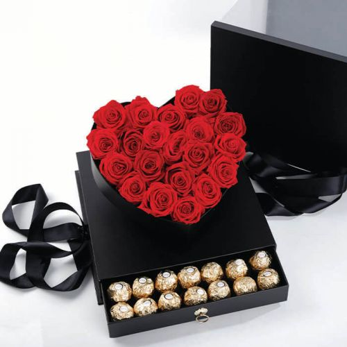 Red Rose in Heart Box with Ferrero Rocher