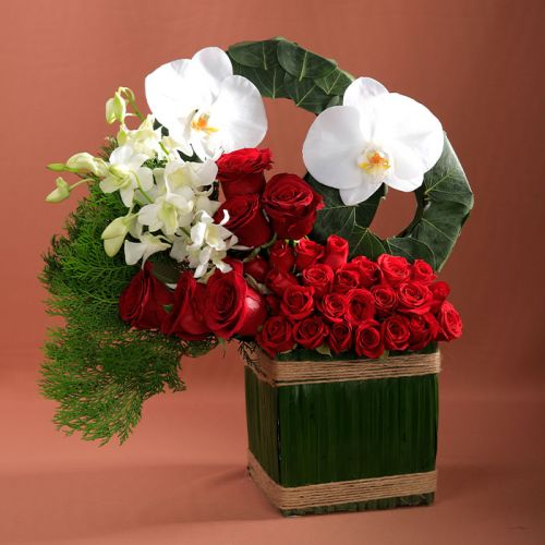 Mix Flowers in Square Vase.