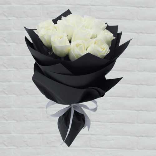 BOUQUET OF DOZEN WHITE ROSE
