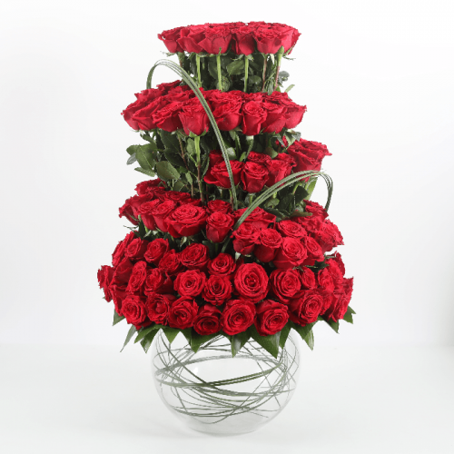 Elegance of 101 Red Roses