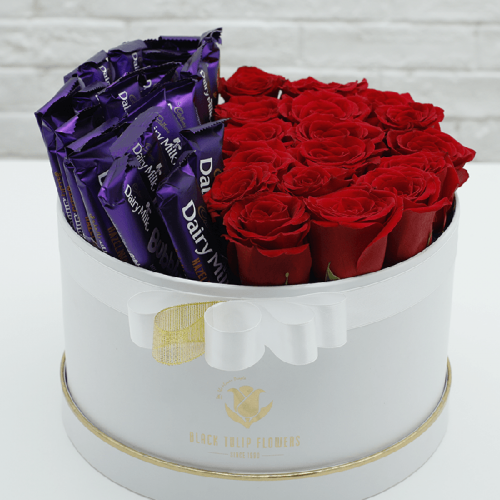 Box of Red Roses with Dairy Milk Chocolate