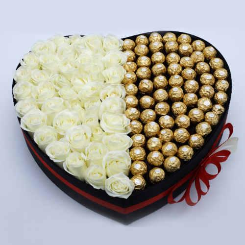 HEART SHAPED BOX OF WHITE ROSES WITH FERRERO