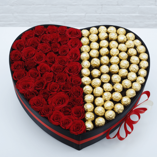 HEART SHAPED BOX OF RED ROSES WITH FERRERO