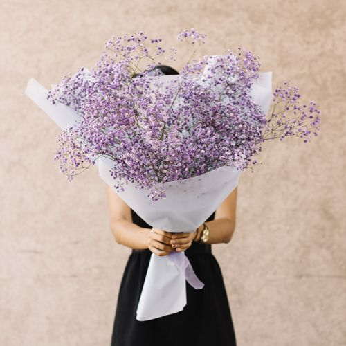 Sprayed Purple Gypsophila Hand Bouquet for all occasions.