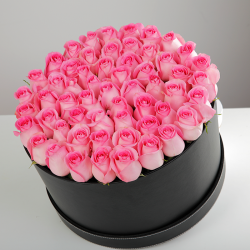 Charming Pink Roses In A Box
