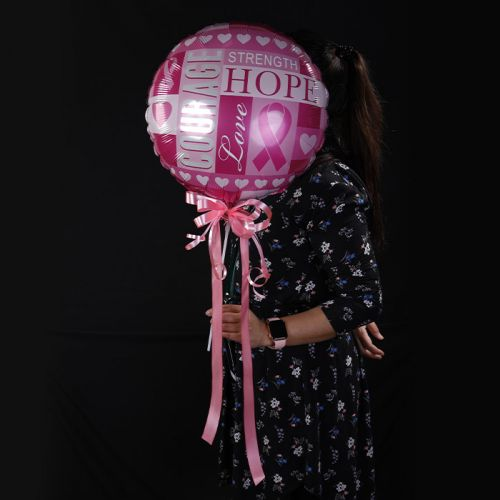 Courage and Hope Breast Cancer Awareness Balloon.