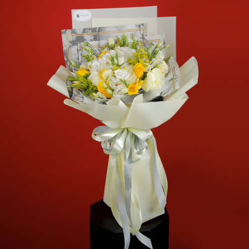 Dazzling Mix of White and Yellow Flowers