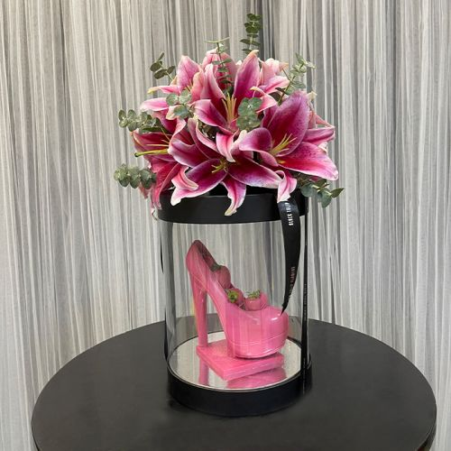 Stunning Pink Lilies with  Chocolate Heels & Strawberries