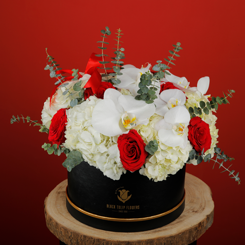 Enchanting Red and White Flowers In A Box