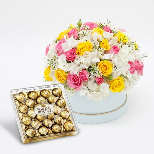 Mix Flowers with Ferrero Rocher Chocolates