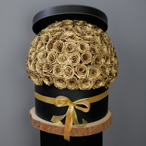 Golden Sprayed Roses In A Black Box