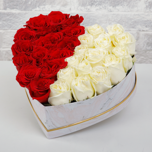 Half Red and White Roses In Marbled Box
