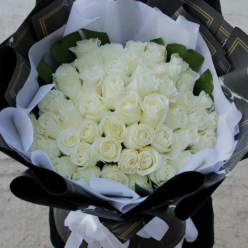 Hand Bouquet of White Roses