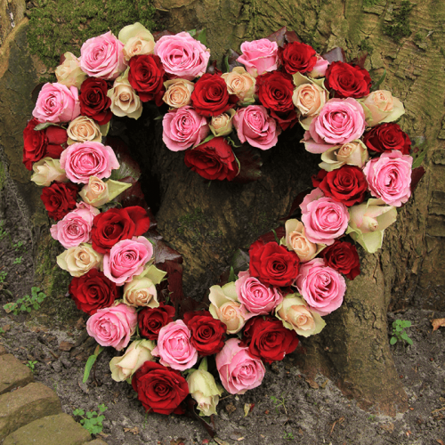 Heart Shape - Mix Roses