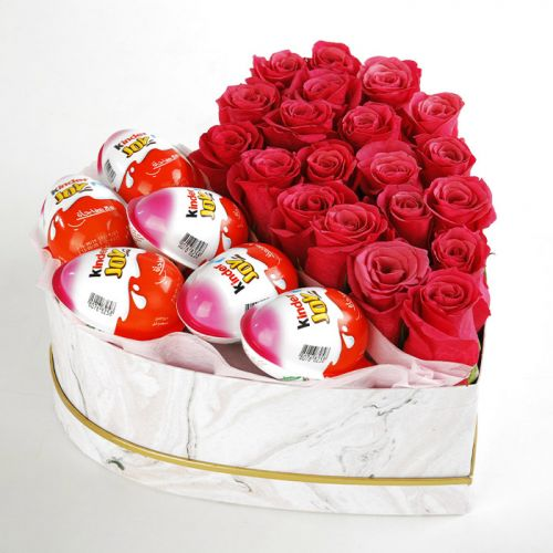 Heart Shape Box Of Pink Roses and Kinder Joy