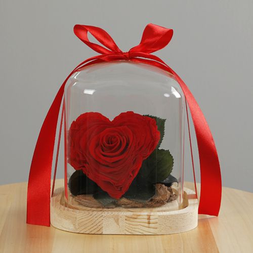 Heart Shape Infinity Red Rose in  Glass Dome