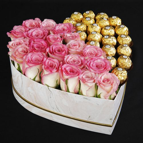 Heart Shaped Box Of Pink Roses and Ferreros