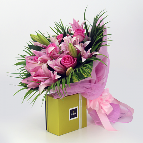 Lily and Rose Bouquet with Patchi Combo