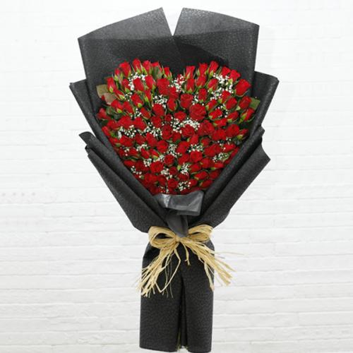 100 ROSES - HEART SHAPE BOUQUET
