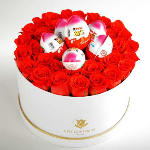 Orange Roses With Kinder Joy Chocolates