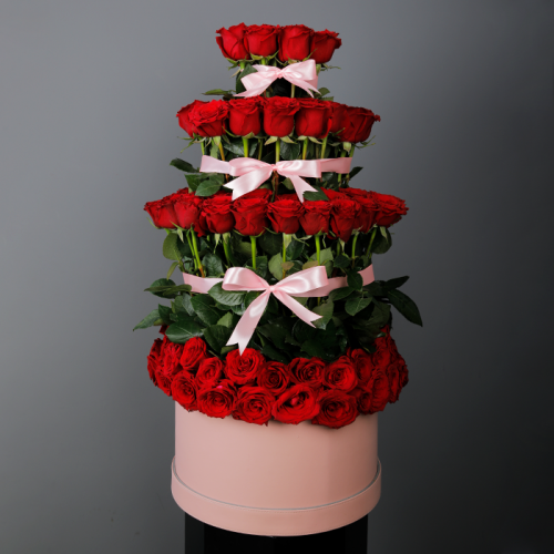 Lovely Red Roses In A Pink Box