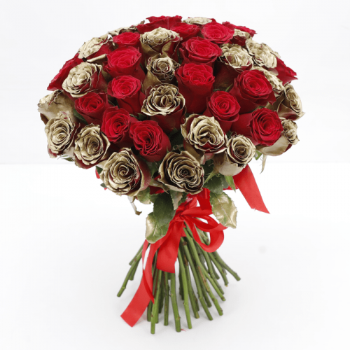 LUXURY RED & GOLD ROSES BOUQUET