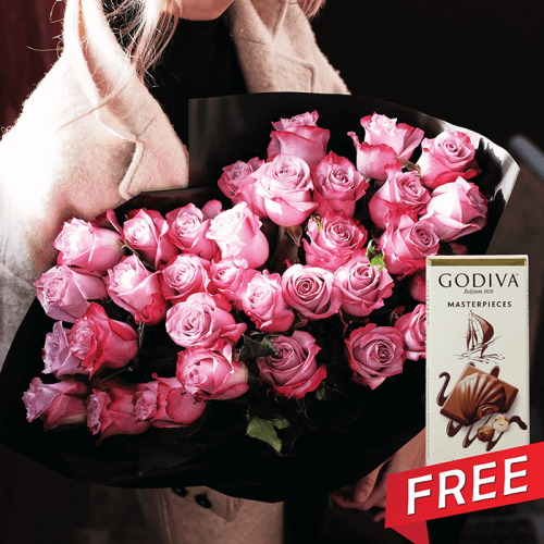 Luxury bunch of deep purple rose free godiva