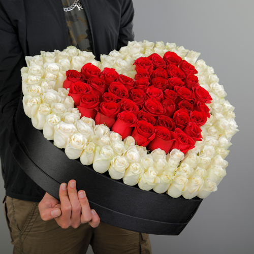 Magnificent Love of White and Red Roses