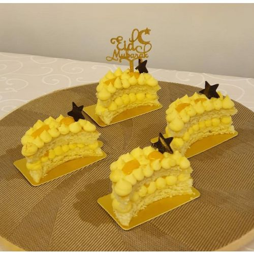Mini Mango Coconut Moon Cake (pack of 4) with small topper