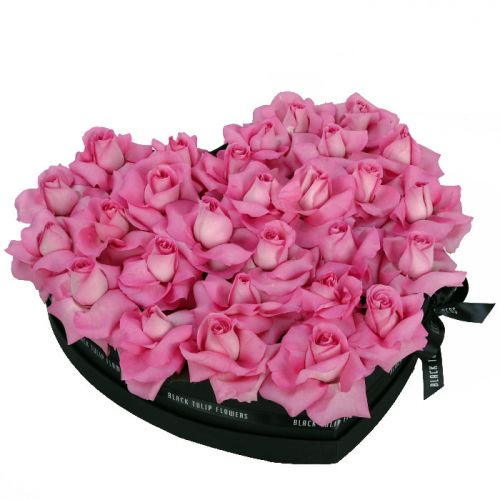Perfect Pink Roses in Heart Shaped Box