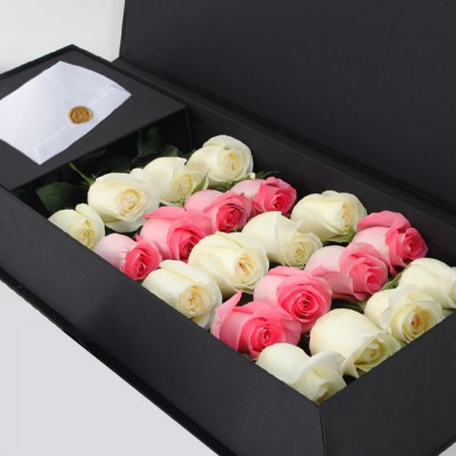 Pink & White Roses in Black Box