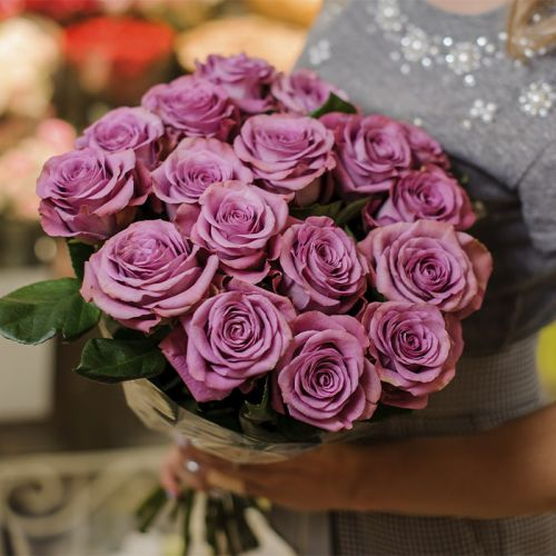 Purple Rose Bouquet which represents peace and loyalty.