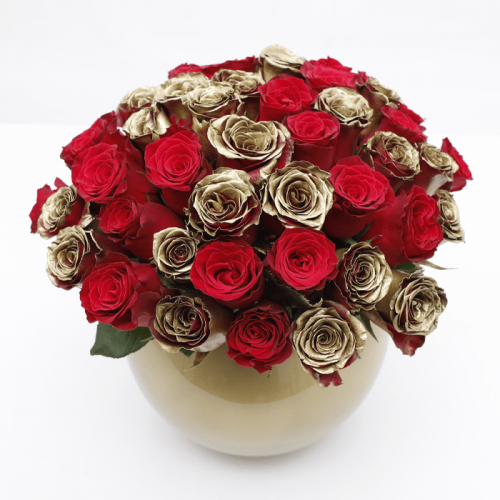 Luxury Red & Gold Roses Centerpiece