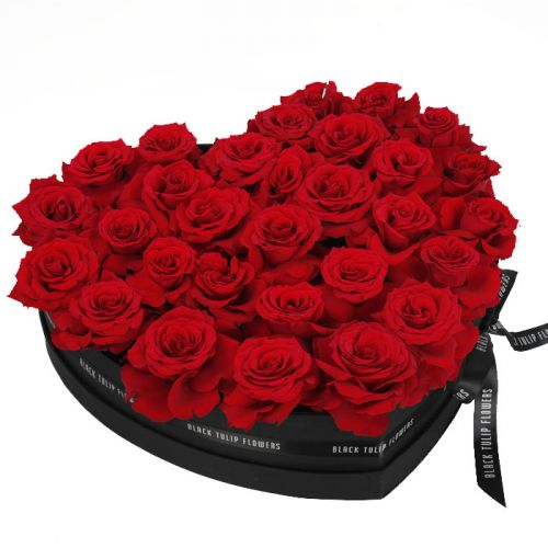 Perfect Red Roses in Heart Shaped Box