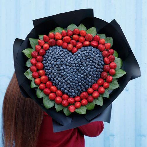 Strawberry and Blueberry in Black Wrap
