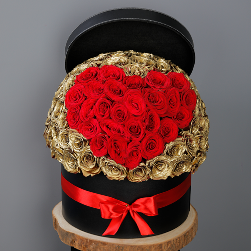 Sweet Golden Roses In A Box