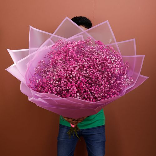 Sprayed Pink Gypsophila in a Bouquet for any occasion.