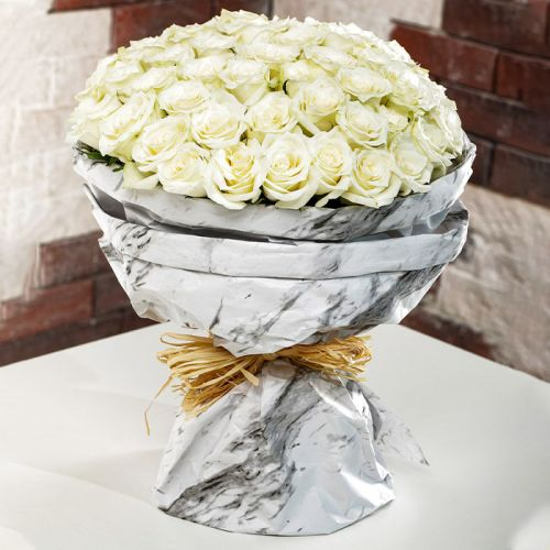 White Roses In Marbled Wrapping